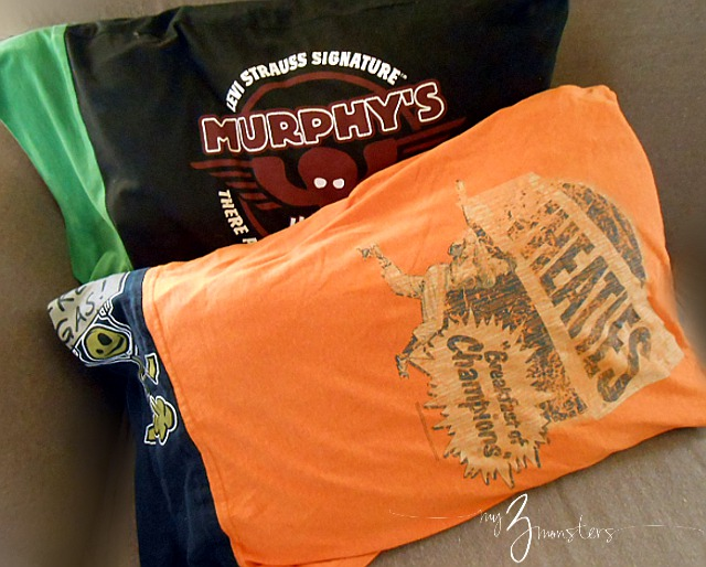 Diy T Shirt Pillow Case: My 3 Monsters  Quick Sew Tee Shirt Pillowcases,