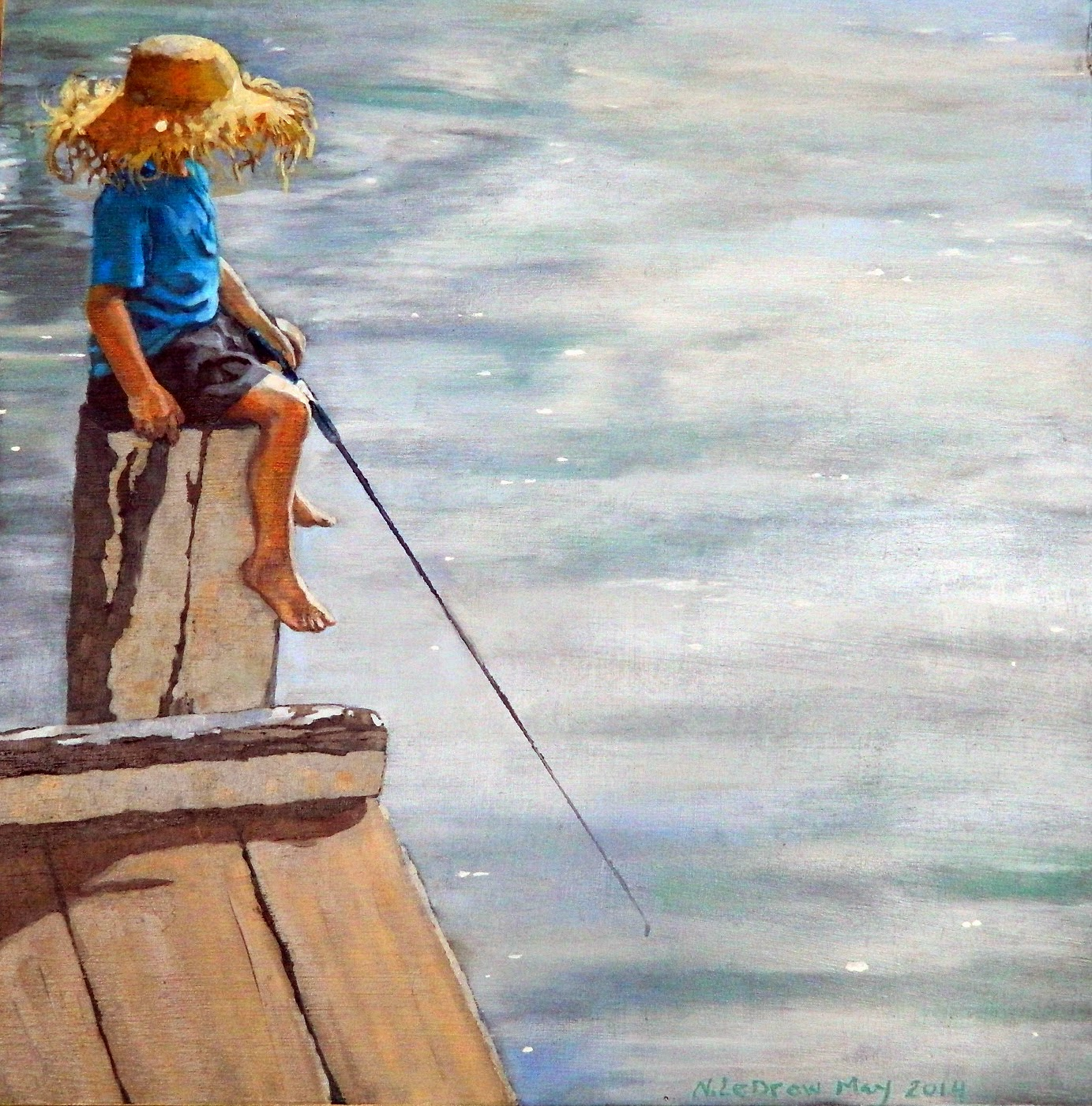 water child fishing oil painting
