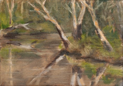 Oil painting of eucalyptus trees overhanging a bend in Melbourne's Yarra River, with reflections of the trees prominent on the surface of the water.