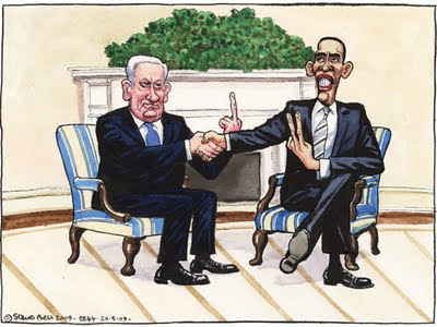 Obama    Israeli PM gives Obama the finger