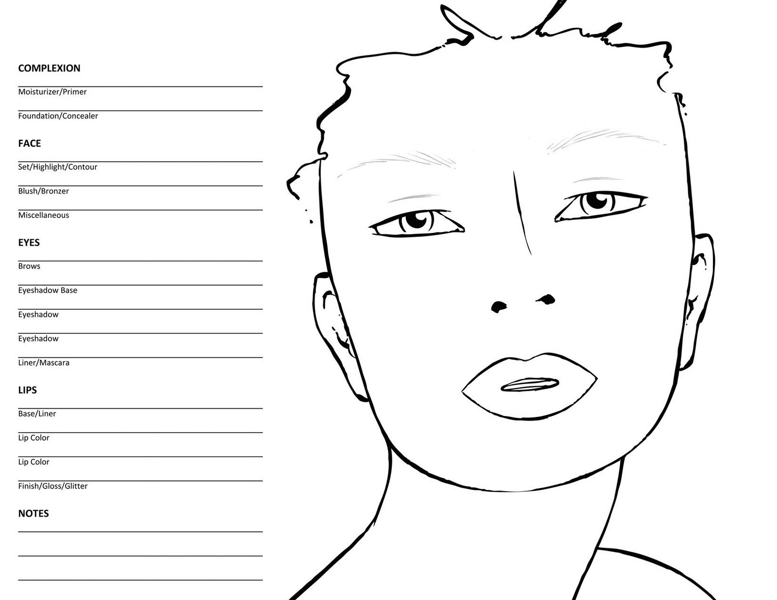 It is a graphic of Wild Printable Mac Face Charts