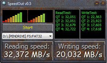 Imagen de una prueba de velocidad de escritura y lectura a un pen drive Patriot Rage de 16GB