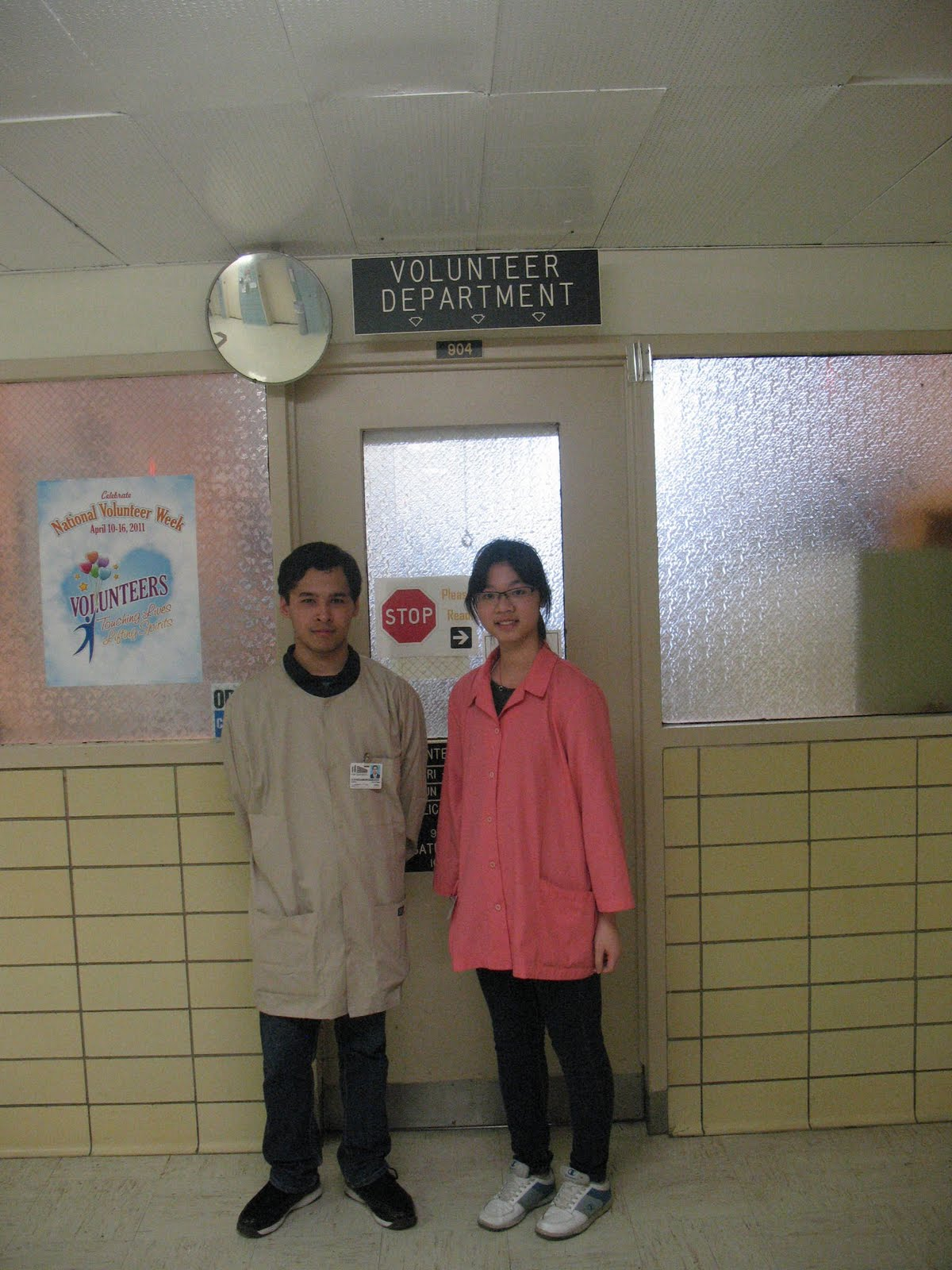 coney island hospital jiewen zhao we are standing in front of our volunteer department where i sign in and sign out place and i met many new friends over there we are wearing the volunteer