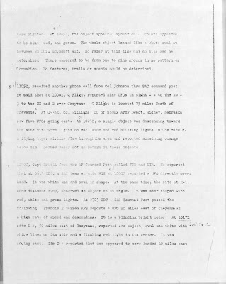 UFO Report at  Missile Sites, F E Warren AFB Wyoming (B) 7-1-1965