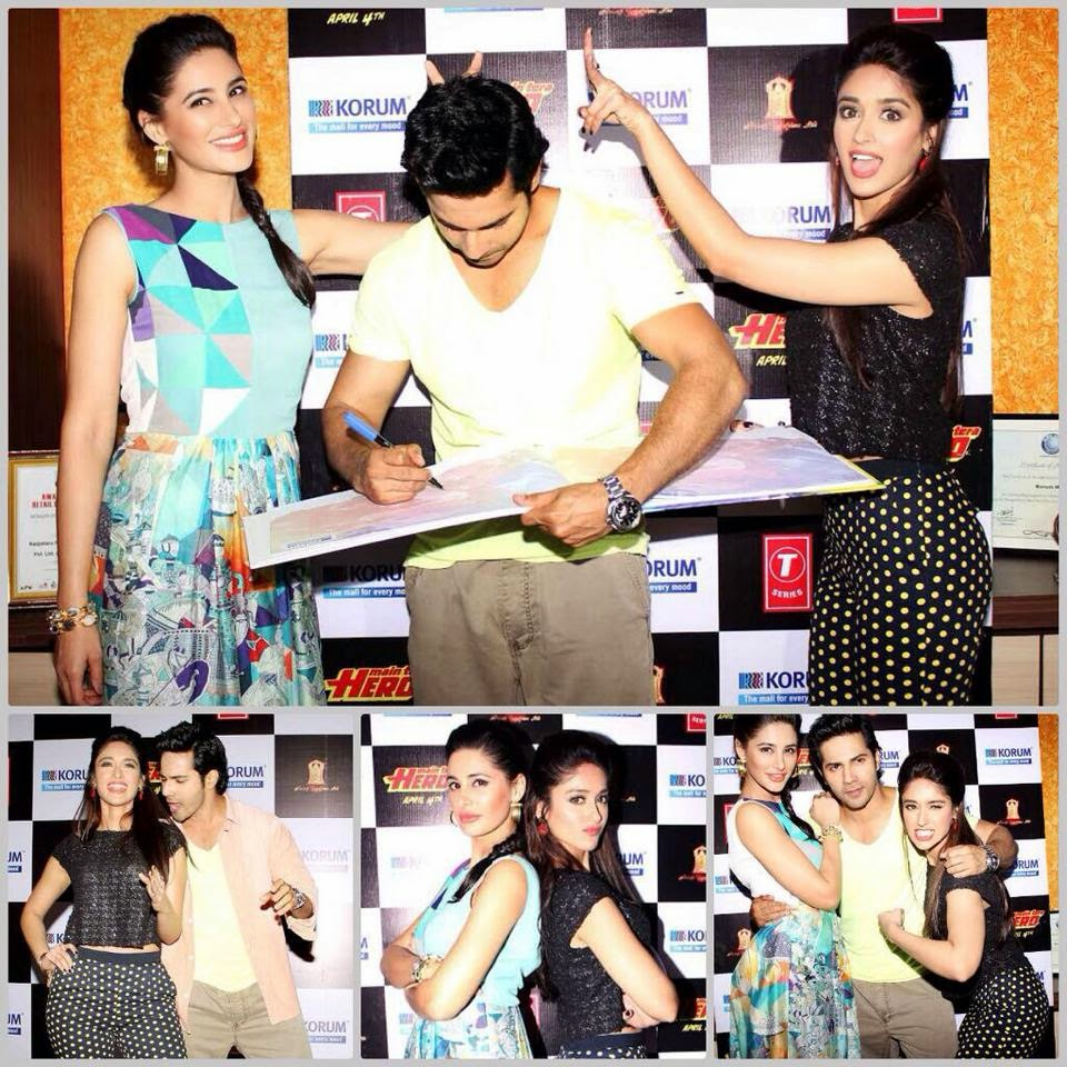 Varun, Ileana and Nargis at KorumMall to promote Main Tera hero