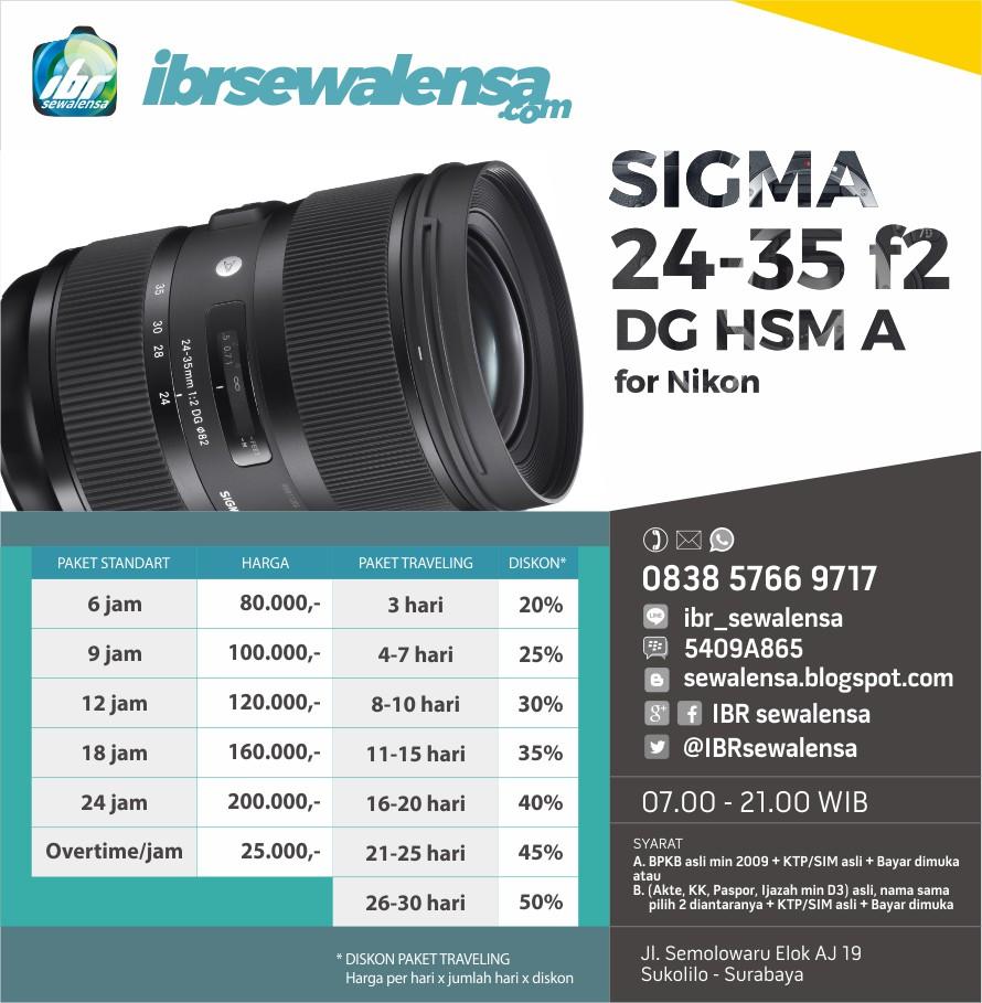 SIGMA 24-35 f2 DG HSM A SEWA RENTAL KAMERA LENSA