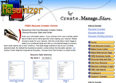 resumizer is a free resume creator tool to write and print your resume in a few simple steps many styles and options with tips to guide you