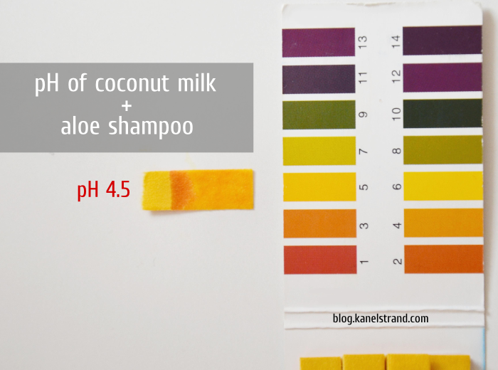 pH of coconut milk and aloe shampoo
