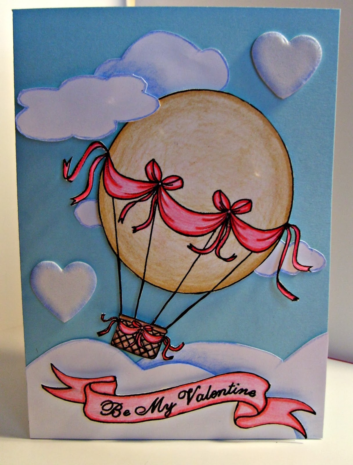 Heartedly Handcrafted Valentines Day Card Hot Air Balloon – Digital Valentine Card