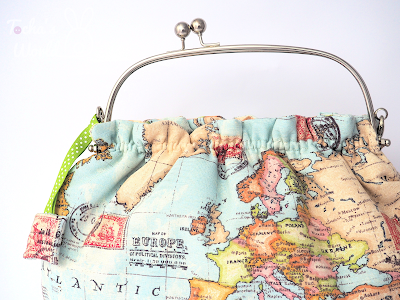 cotton, map, globe, globetrotter, wadding, clasp frame, handbag, bag, chain, printed fabric, stamp, world, cruelty free, vegan, ethical, ethical fashion,