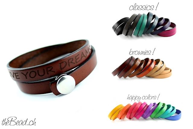 Lederarmbänder mit Gravur in vielen verschiedenen Farben, by theBead