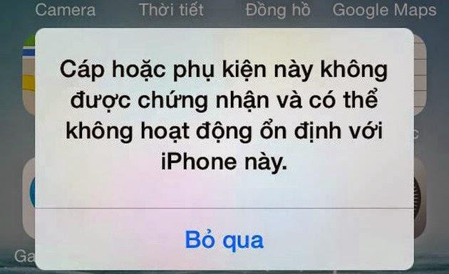 Xuất hiện lỗi cáp chuẩn báo cáp nhái trên iOS 7