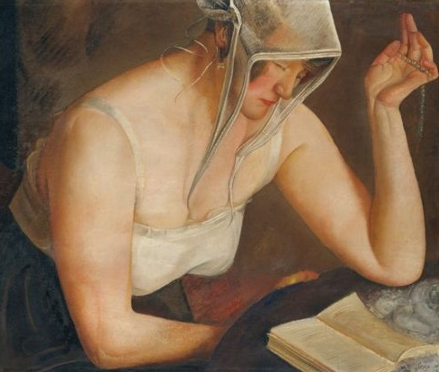 Boris Grigoriev,woman reading,bible