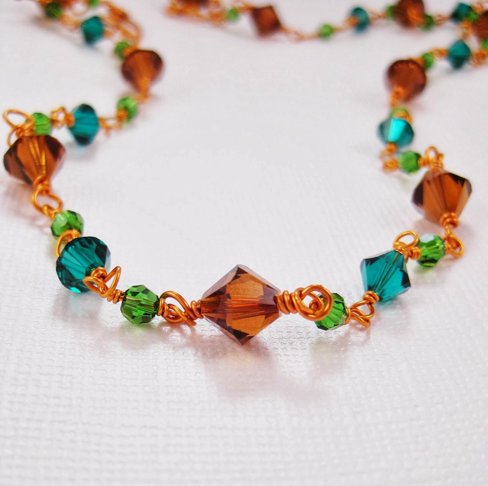 Smoked Topaz/Emerald Crystal Wire Wrapped Copper Necklace