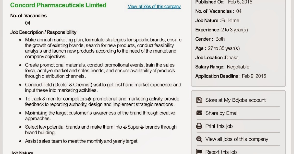 Executive - Product Management Department - Current Pharmaceutical Jobs