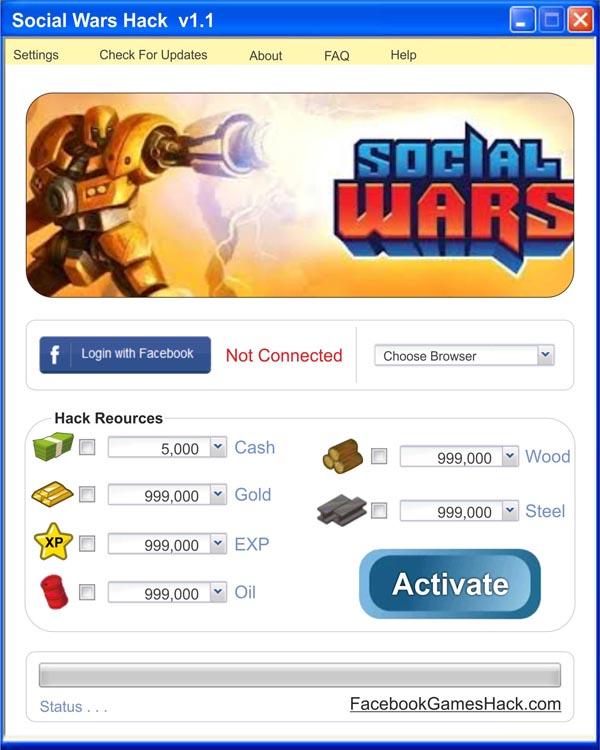 Social Wars Hack - Sin límite efectivo, oro, petróleo, acero y