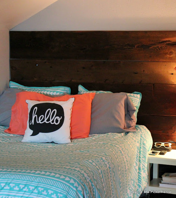 attic bedroom, reclaimed wood, barn wood, teen room, grey, Target, laminate, minwax, http://bec4-beyondthepicketfence.blogspot.com/2015/08/attic-bedroom-update.html