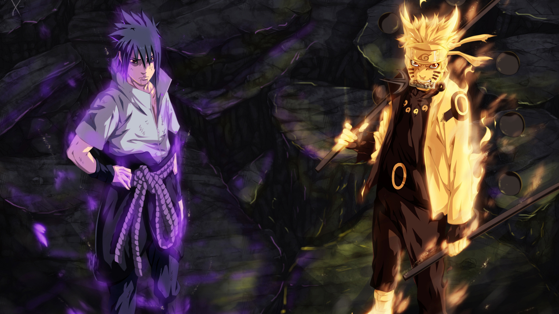 ... and rinnegan eyes and naruto uzumaki sage of six path art anime hd