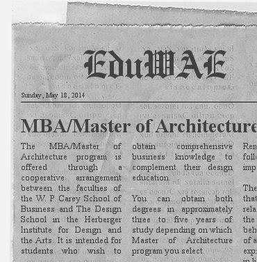 ASU Full Time MBA-Master of Architecture Program