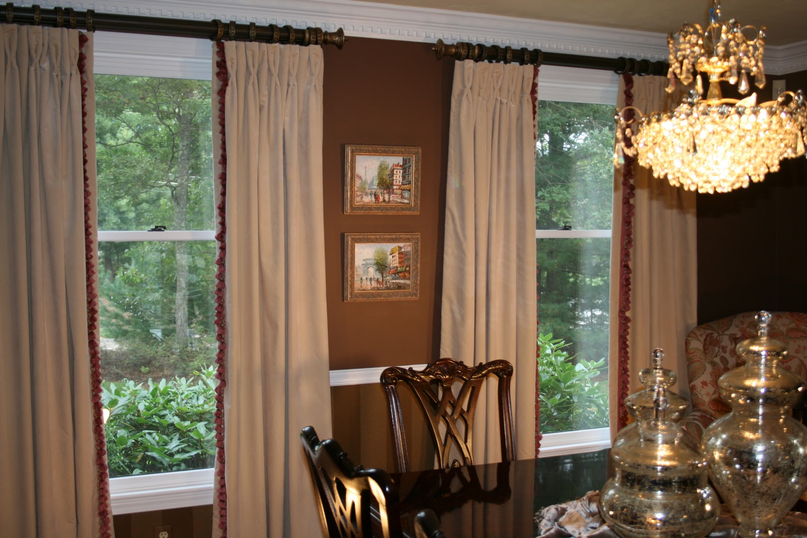 The velvet window treatments are interlined which gives them  title=