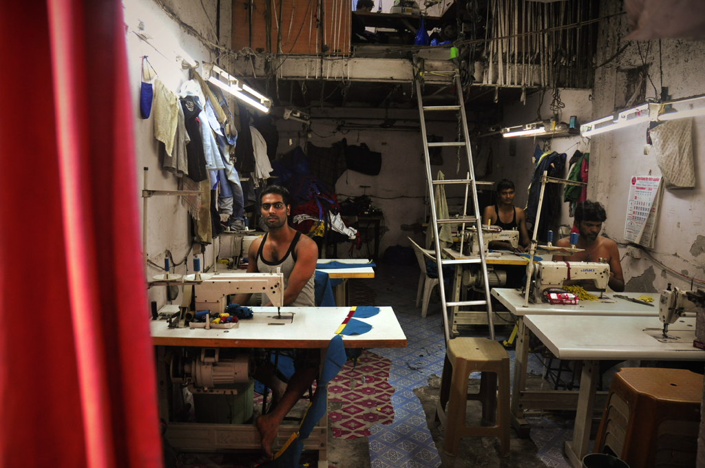 Sewing factory in Dharavi in India.