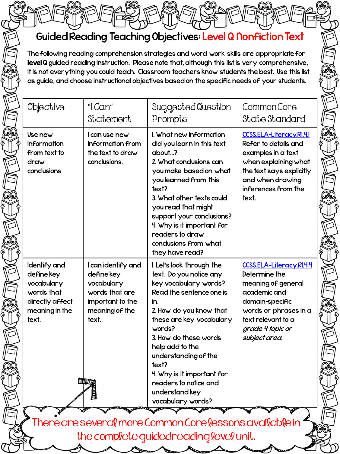http://www.teacherspayteachers.com/Product/FreebieGuided-Reading-Lessons-and-Printable-Assessments-Grade-4-1127596