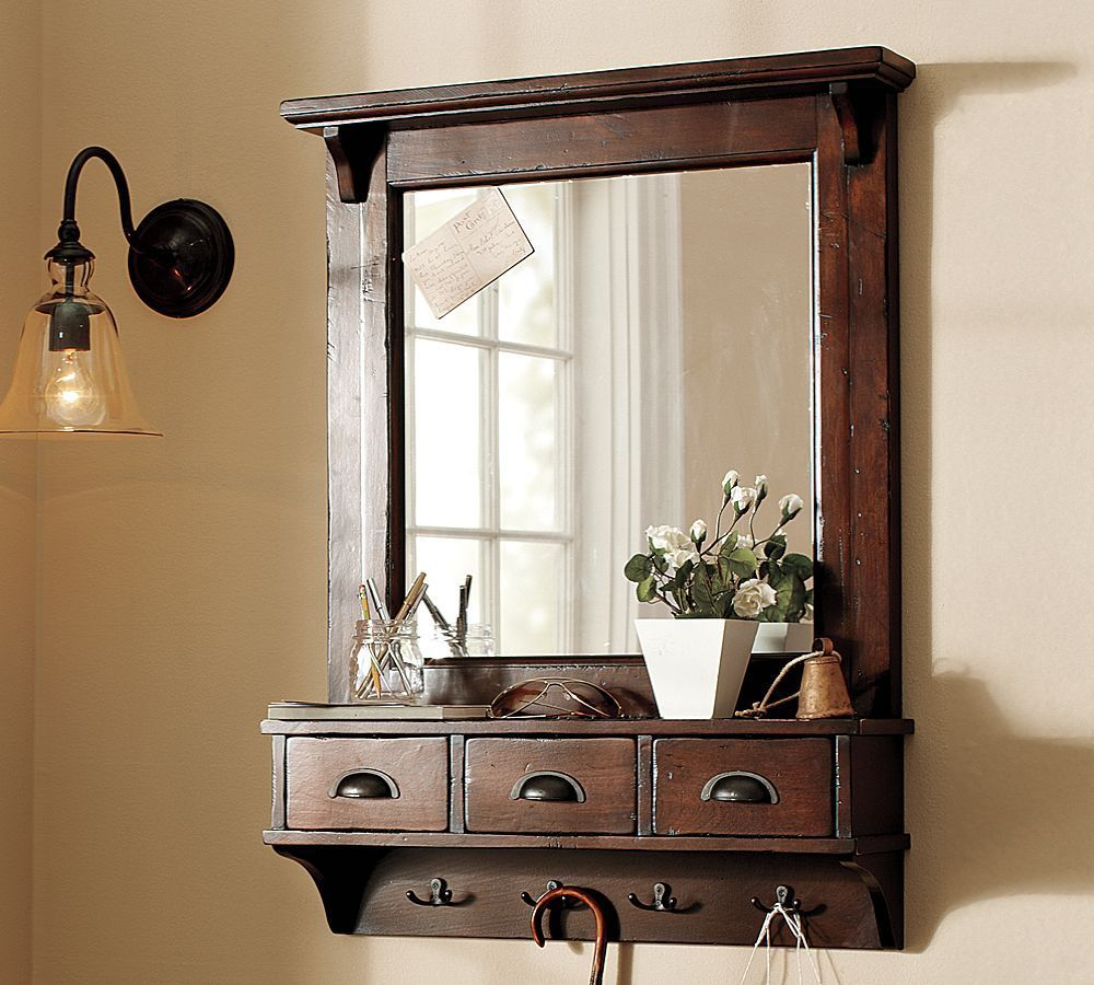 Mirror frame with hooks and 3 drawer , bathroom shelf (LE-80019 ...