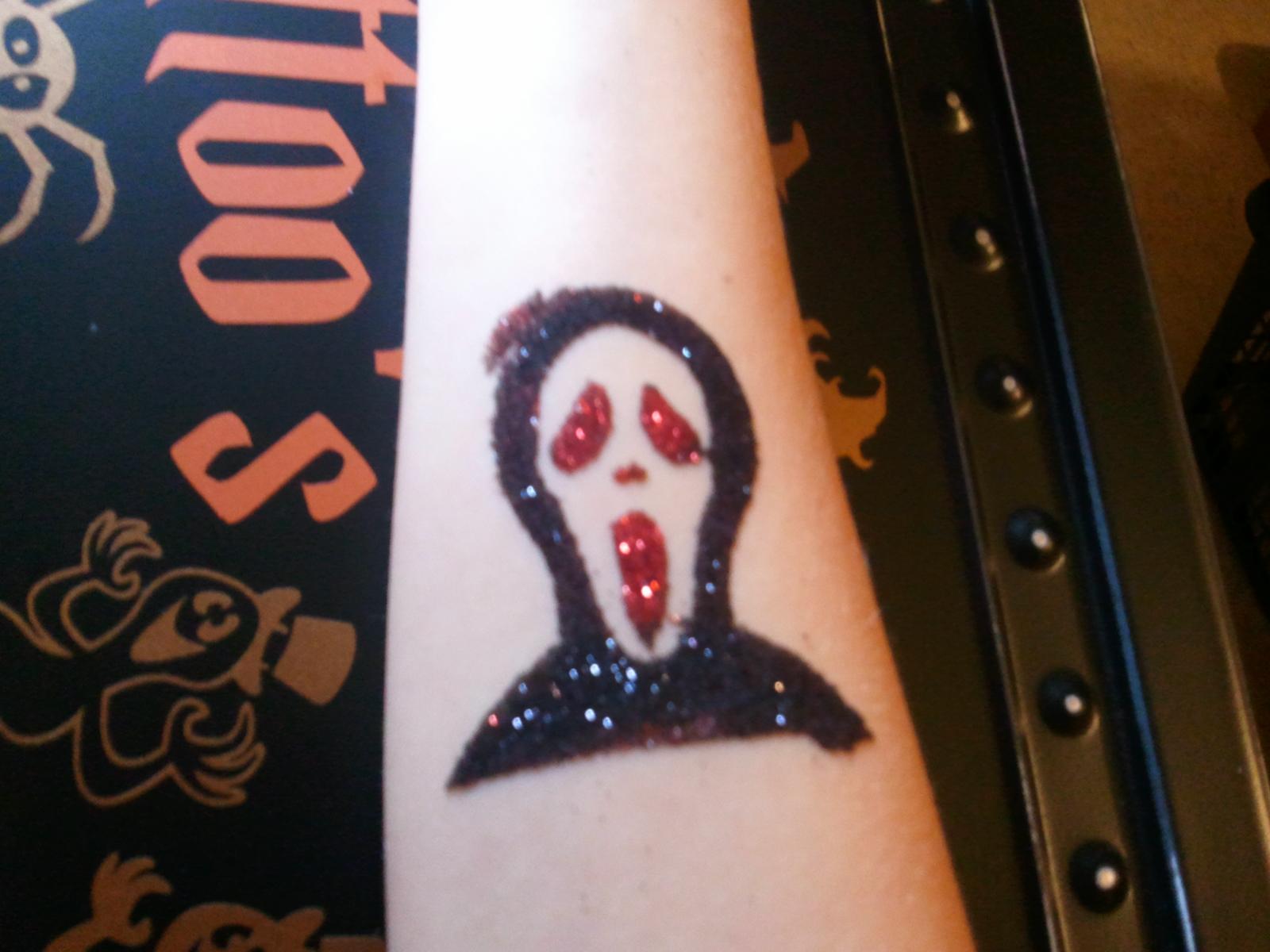Scream Halloween Glitter Tattoo