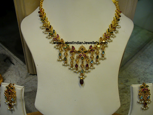Multi Colored Gemstone Set With Pearl Drops
