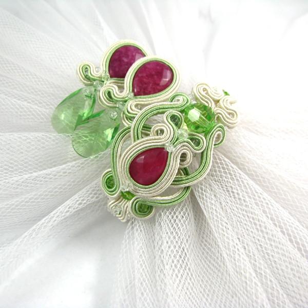Sutasz ślubny - pastelowy komplet z rubinami