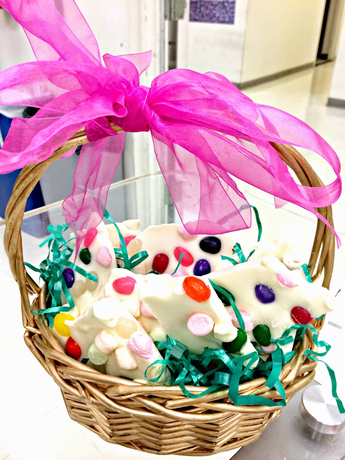 Easter archives mamachallenge real solutions for real parents when it solidifies break into pieces makes for a cheap easy and cute gift to friends neighbors and teachers sans serif easter basket cupcakes negle Images