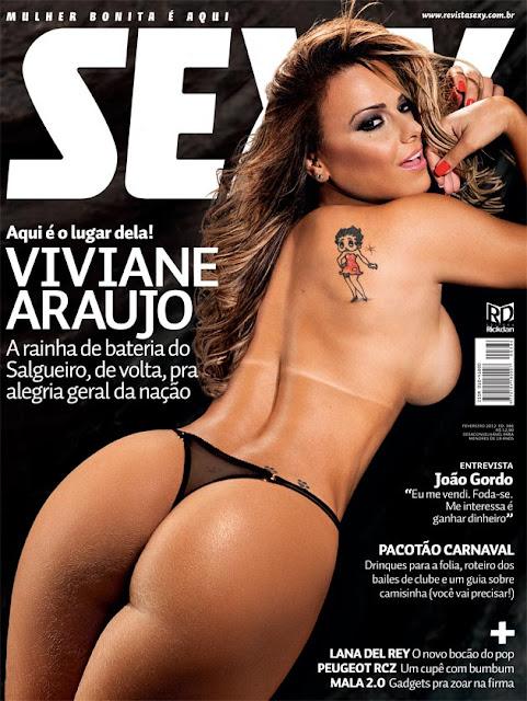 Confira as fotos da rainha de bateria, Viviane Araujo, capa da Sexy de fevereiro de 2012!