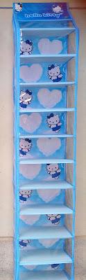 rak sepatu gantung karakter hello kitty biru muda