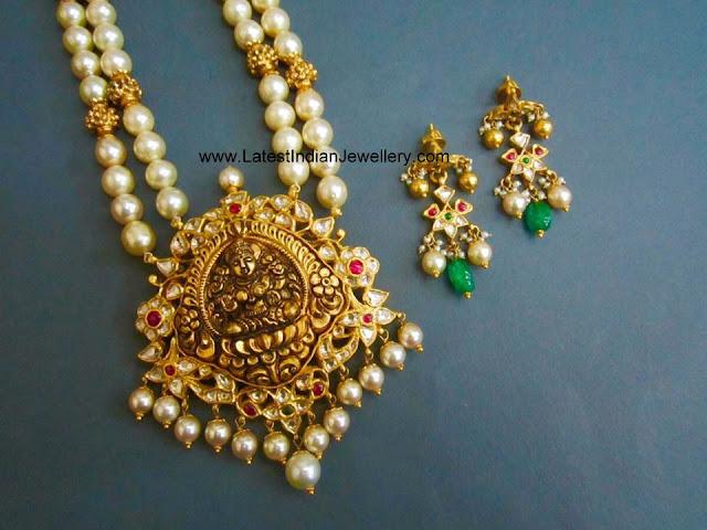 South Pearls Lakshmi Pendant Haram