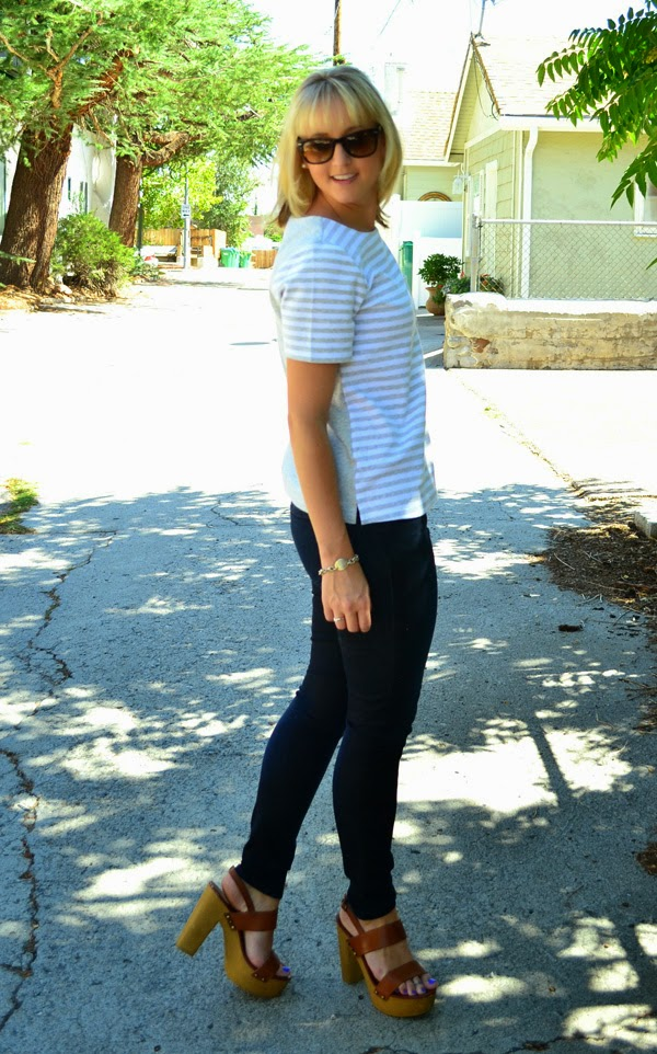 striped Old Navy shirt, PAIGE denim