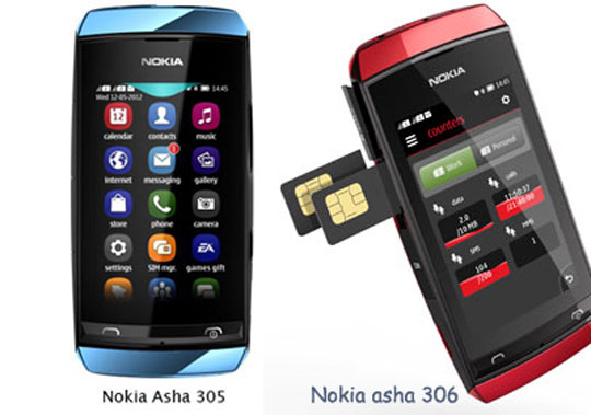for its asha range of handsets the nokia asha 305 the asha 306