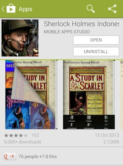 Aplikasi Novel Sherlock Holmes Bahasa Indonesia di Android