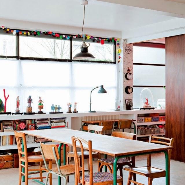 Interior peque o loft mix vintage y a todo color for Salle a manger loft