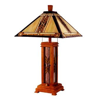 Mission tiffany wood table lamp
