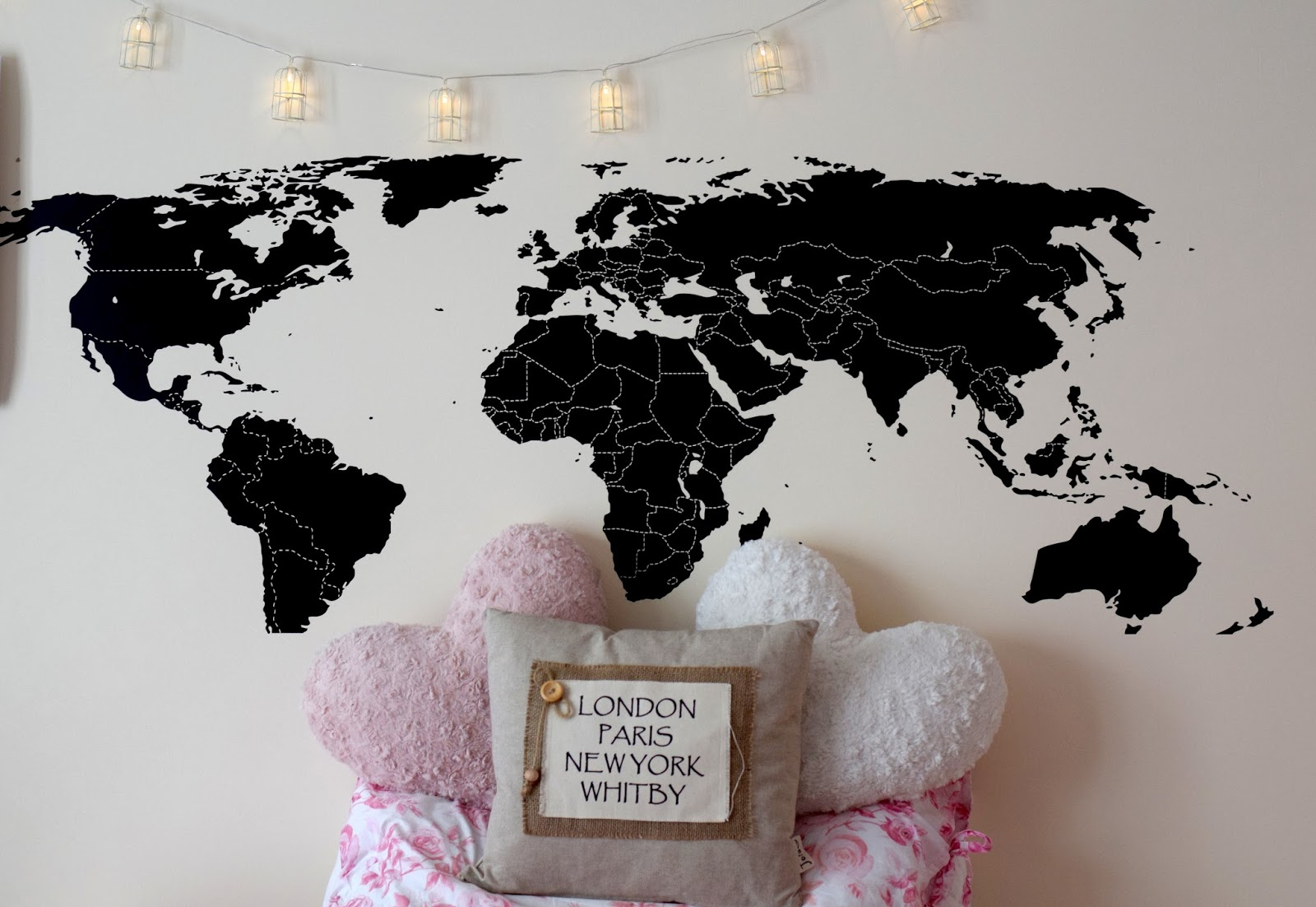 My uni bedroom helloomonica in this post ill be giving you guys a sneak peek into my bedroom and sharing all about my new world map wall sticker publicscrutiny Image collections