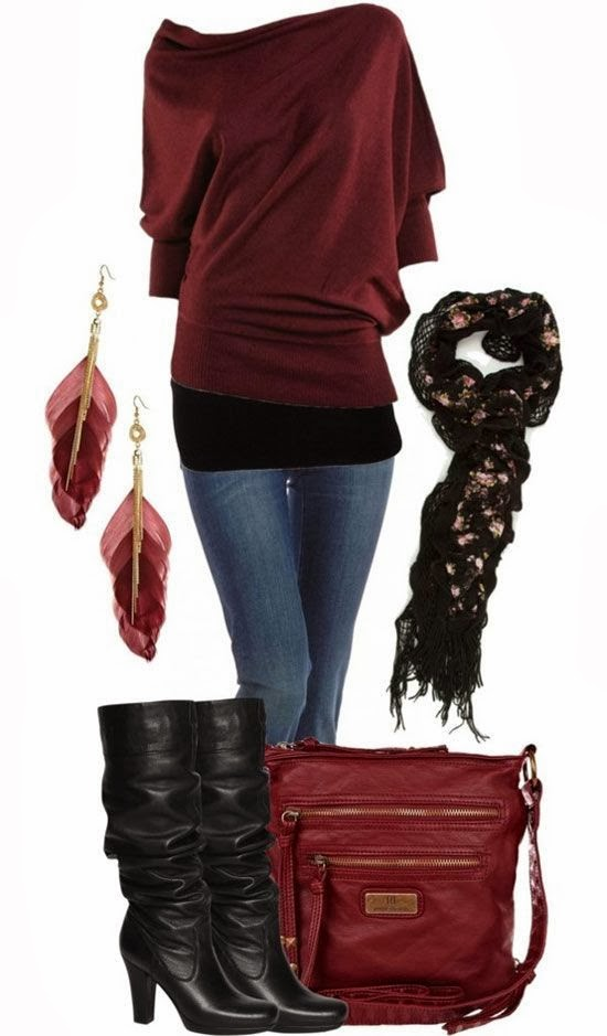 New Dark Red Sweater, Jeans, Feather Earrings, High Heel Shoes and Hand bag for Ladies