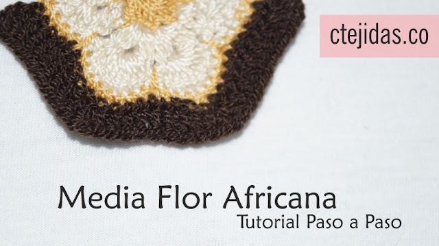 Media Flor Africana a Crochet - Paso a Paso