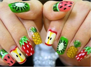 unhas decoradas frutas tutti frutti