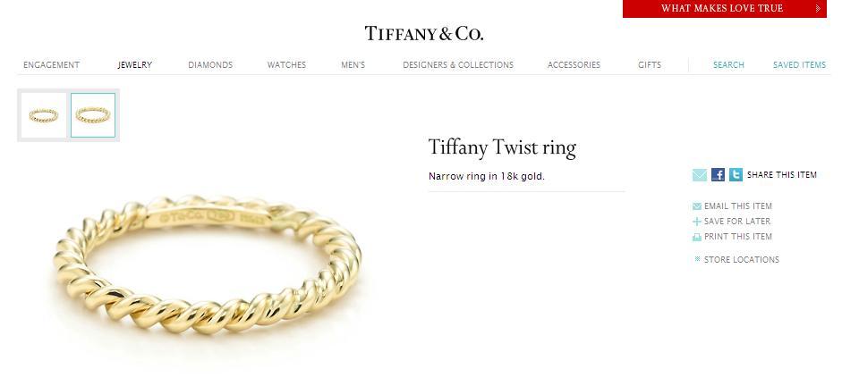 Merisik ring - A Tiffany Twist narrow ring in 18k gold