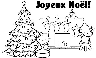 Hello Kitty Christmas coloring page activity