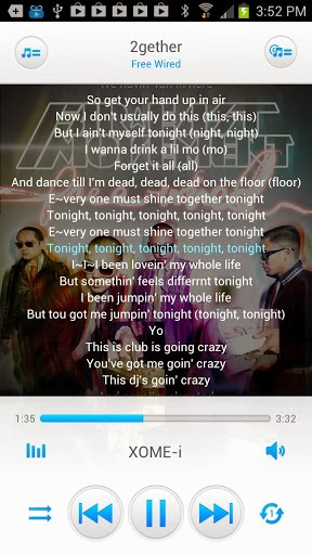 how to add lyrics to android music player