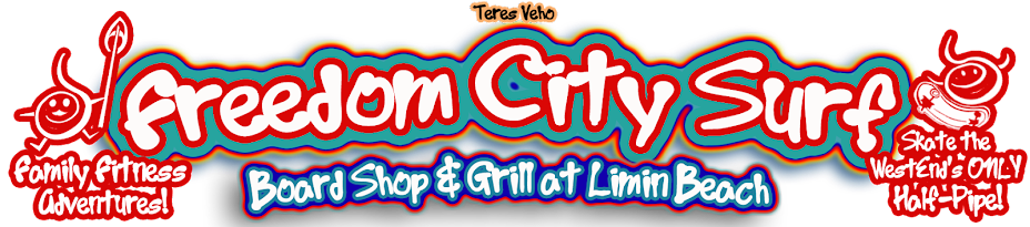 Freedom City Surf Board Shop and Grill at Limin Beach