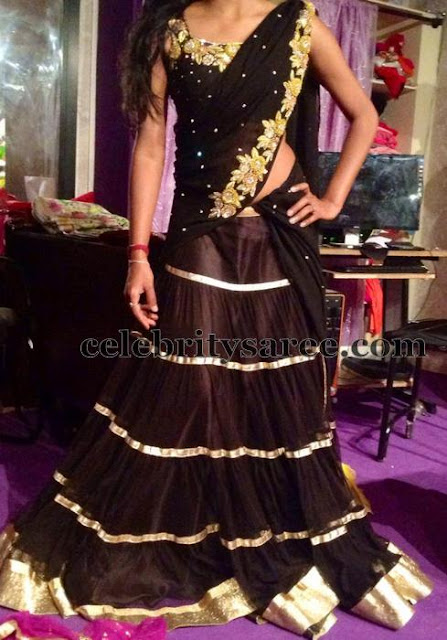 Black Pleats Half Saree
