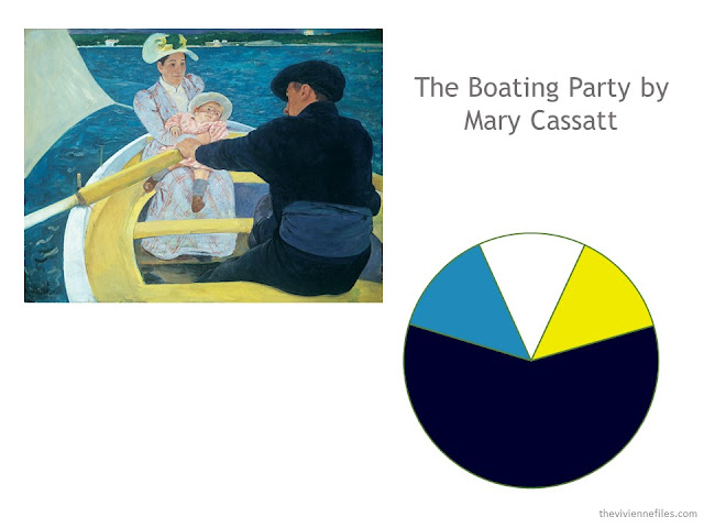 The Boating Party by Mary Cassatt, and a color scheme drawn from the painting