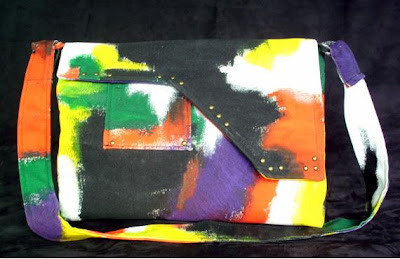 Customização de eco bag com pintura abstrata